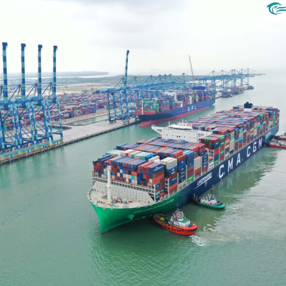 """MAIDEN CALL BY THE WORLD'S LARGEST LIQUEFIED NATURAL GAS (""""LNG"""") CONTAINER VESSEL, CMA CGM JACQUES SAADÉ AT WESTPORTS"""